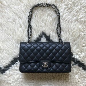 Chanel Black Caviar Medium Classic Flap SHW